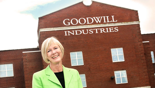 Phyllis Bandstra, president and CEO of Goodwill of the Southern Alleghenies, poses in front of the main office on Central Avenue in the Moxham section of Johnstown. Bandstra is retiring after 17 years with the company.