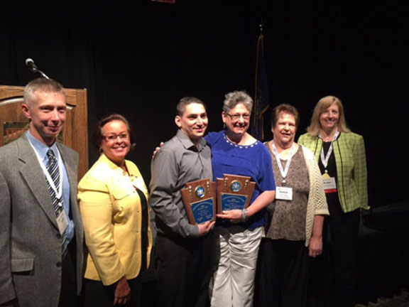 May 19, 2016, Pennsylvania Workforce Development Association's 32nd Annual Employment, Training & Education Conference in Hershey: Jeff Dick, Site Administrator, PA CareerLink; Renee Shaw, Goodwill's Business Services Coordinator, PA CareerLink; Felipe Lucio, Jr.,(Award Winner), Executive Administrative Assistant, Johnstown Free Medical Clinic; Rosalie Danchanko, (Award Winner) Executive Director, Johnstown Free Medical Clinic; Karen Sellers, Goodwill's Career Planner, PA CareerLink; and Susan Whisler, Director, Southern Alleghenies Workforce Development Board