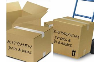 Moving boxes labeled for kitchen and bedroom items